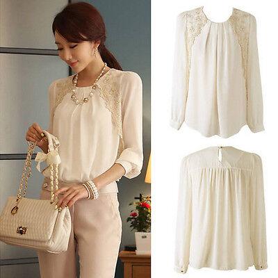 Fashion Women Chiffon Long Sleeve Business Blouse Tops Office Casual Loose Shirt (Fashion Women Casual Chiffon)