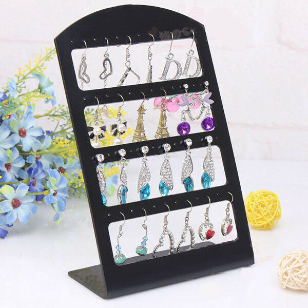 24 Pairs Earring Jewelry Show Black Plastic Display Rack Stand Organizer Holder