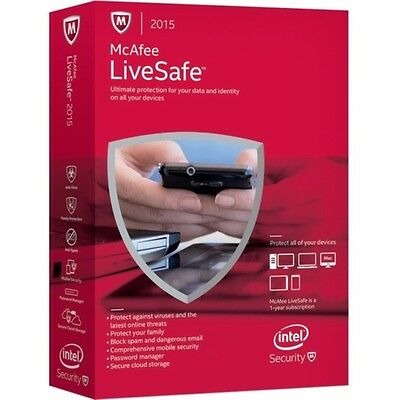 McAfee LiveSafe 2015 Brand New Factory Sealed!!! FREE SHIPPING!!!
