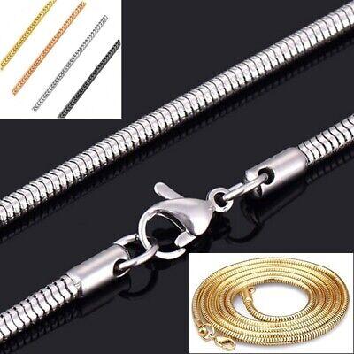 Schlangenkette Edelstahl Silber Gold Schwarz Rose 1-3mm Halskette Anhänger Kette Halsketten