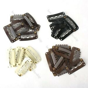 10pcs-50pcs-28-32mm-Hair-Extension-Snap-Clips-for-Wig-Weft-4Colours