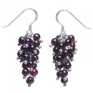 Ohrhänger in Traubenform aus Granat & 925 Silber, dunkelrot, Ohrringe für Damen
