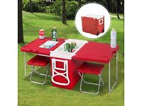 Cooler box table picnic set with two stools