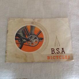 Original 1940 BSA bicycle brochure and Sturmey Archer leaflet