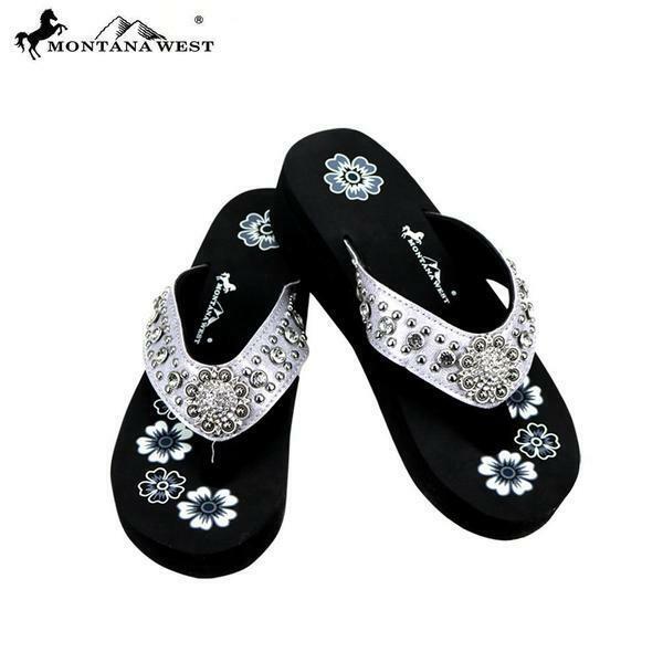 Montana West Women's Silver Bling Wedge Sandals Flip Flops S