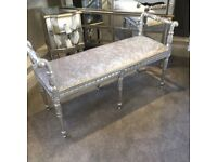 New Craftsman quality made in UK. Long bench/ stool in silver/grey