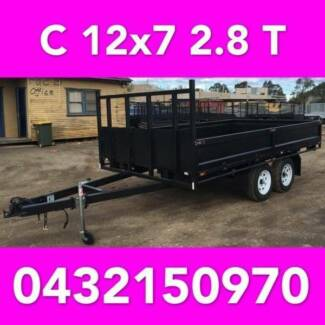12x7 table top tandem trailer flatbed 2800kg also 12x6 12x5 10x6