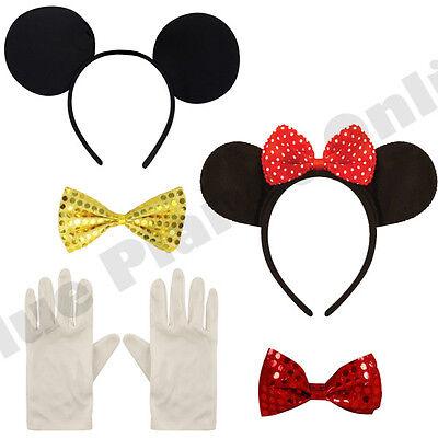 Minnie Mickey Maus Ohren Fliege Weiß Handschuhe Kostüm Junggesellinnenabschied ()