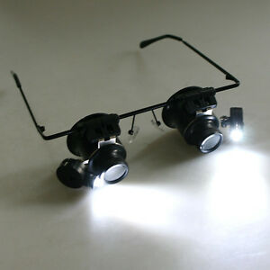 20X Magnifier Magnifying Eye Glasses Loupe Watch Repair Tool With LED Light