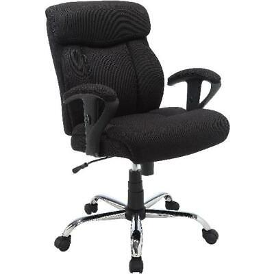 Office Desk Chair Heavy Duty Adjustable Seat Big Tall 300 Lbs Black Mesh Fabric
