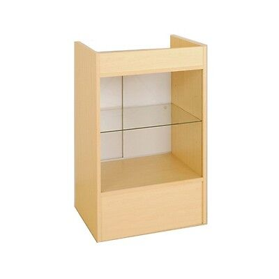 Cash Register Stand With Glass Front For Full Vision Showcase - Maple - Scrgm