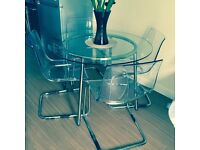 Ikea Salmia glass table and 4 Tobias clear chairs
