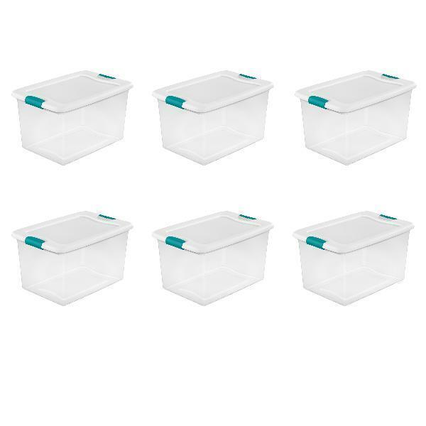 64 quart clear plastic storage boxes bins