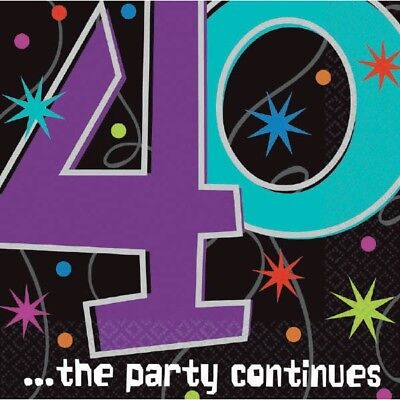 Party Continues Beverage Napkins (40th Beverage Napkins The Party Continues Tableware [16ct] Table Decorations )