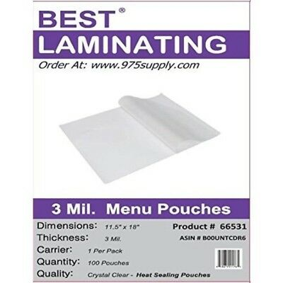 Best Laminating 3 Mil. Clear Menu Size Thermal Laminating Pouche 11.5 X 18 100
