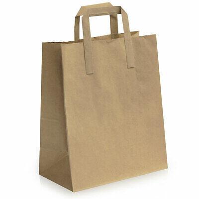 250 x Large Brown Kraft Paper Bags,Food Carrier w/Flat Handles,Takeaway
