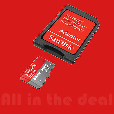 SanDisk 64GB Ultra Micro SD XC Class 10 Memory Card for Samsung S4 S5 S7 S8