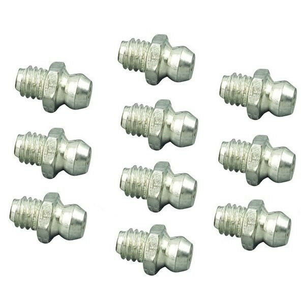 10 Pieces Grease Fitting BSPP BSP Pipe 1/8-28 Zerk Nipple Straight P-C3