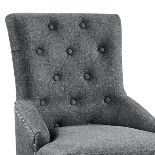 2pcs Dining Chairs Wingback Fabric Chair With Nailhead Trim and Wood Legs, Gray 6
