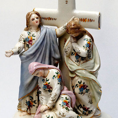Porcelain Crucifix+Holy Water Bowl Mary Passionsfiguren Group Jesus Cross