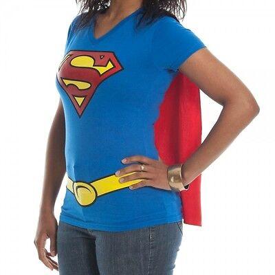 Super Girl Cape (Supergirl Girl's Junior Babydoll Cape t tee Shirt NEW DC Comics Costume)