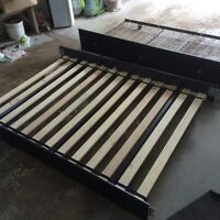Double wooden bed frame w/ single trundle