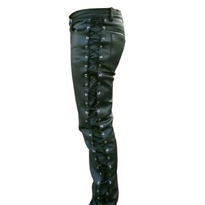 Mens-Thick-Cow-Leather-Side-Laces-Jeans-Model-Pant-New-All-Sizes