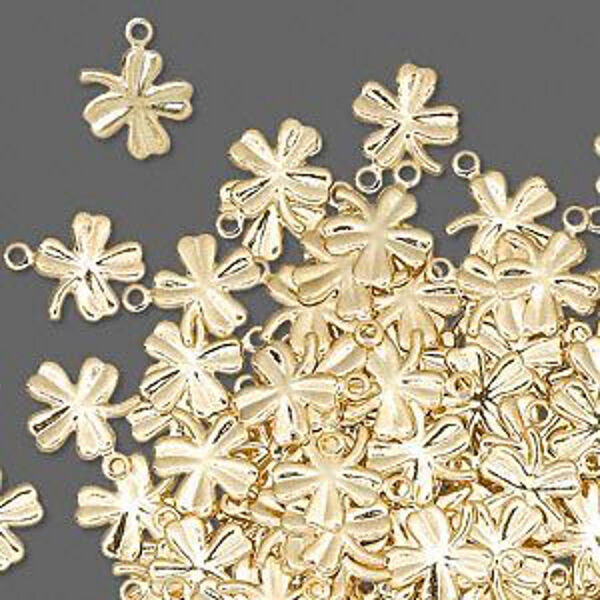 Clover Shamrock Charms Gold 4-Leaf Jewelry 10mm Lot of 50