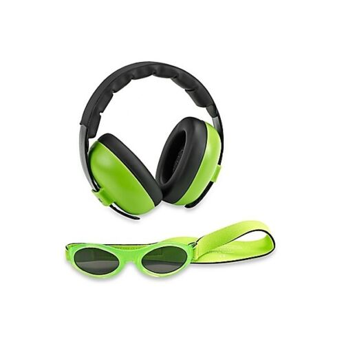 Baby Banz mini earmuffs combo Lime Green Earmuffs + Sunglasses 0-2