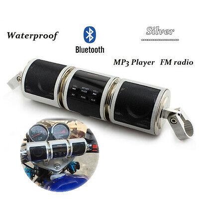 Bluetooth Handlebar Audio Amplifier Stereo Speaker System MP3 USB/TF Sliver