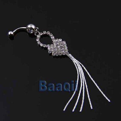 14G Clear Crystal Heart Tassel Long 11cm Dangle Body Belly Navel Ring PiercingTW Crystal Heart Dangle Belly Ring