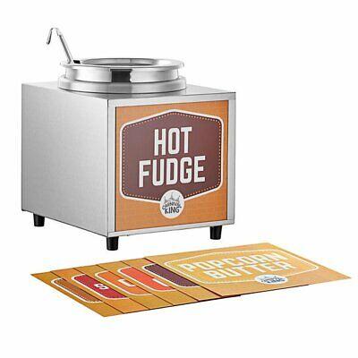 3.5 Qt 10 Can Warmer Hot Fudge Chili Nacho Cheese Commercial Dispenser W Ladle