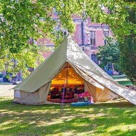 5m Quad door Bell Tent sleeps 6 -£500-00 used once! cost £662 inc.bell tent trolly bag