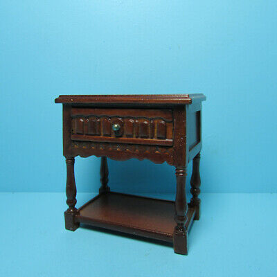 Dollhouse Miniature JBM Wood Side Table or Nightstand Mahogany J07003WN