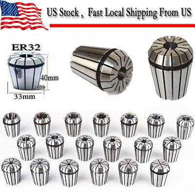 ER32 19 PCS Spring Collets Set 2-20mm ER32 Collet For CNC Engraving Machine -US