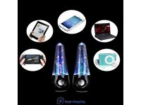 USB LED WATER DANCING SPEAKERS MUSIC FOUNTAIN LIGHT I PHONE I POD I PAID PC GIFT