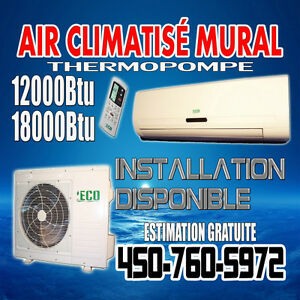 Thermopompe chauffage climatisation dans qu bec for Air climatise mural prix