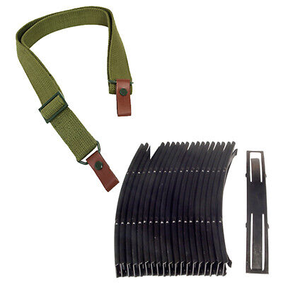 20 BRAND NEW 7.62x39 10rd Steel Stripper Clips + Green Canvas Rifle Sling