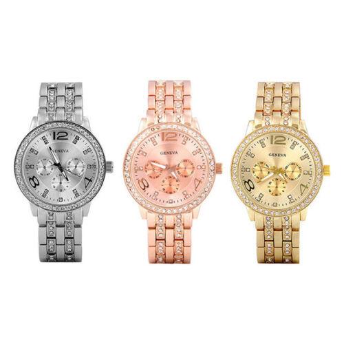 $6.49 - Luxury Fashion Geneva Women's Crystal Stainless Steel Quartz Analog Wrist Watch.