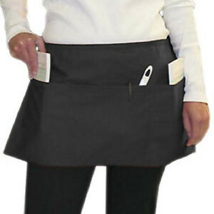12-NEW-BLACK-3-POCKET-SPUN-POLY-RESTAURANT-WAITER-SERVER-BARISTA-WAIST-APRON