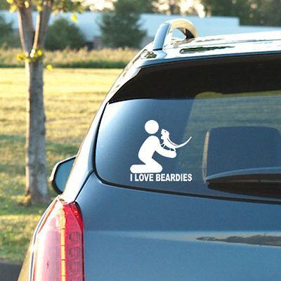 > I LOVE BEARDIES < - Vinyl Decal - Bearded Dragon, Dubia, Cricket, Reptile Food