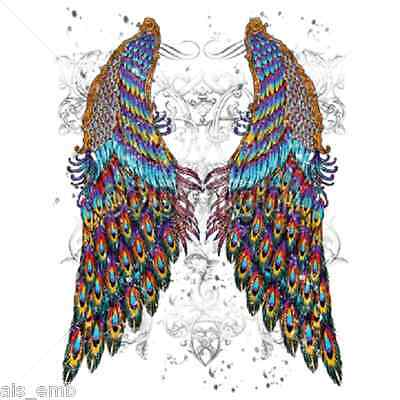 Peacock Wings Heat Press Transfer For T Shirt Tote Sweatshirt Quilt Fabric 042f