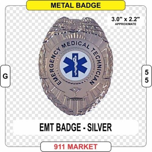 EMT Badge Eagle Top Silver 3D Emergency Medical Technician EMS Patch FD  -  G 55