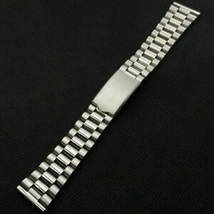 Watch Band 20mm Silver Stainless Steel Metal Wrist Watch Band Fold Over Clasp 56