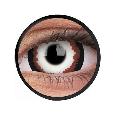Crazy Contact Lenses Lentilles Kontaktlinsen Fun Halloween Red Minotaur 17mm UK ()