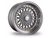 "Dare Rs 15"" 4X100 GOLF MK2/BMW E30 Silver ALLOY WHEELS"