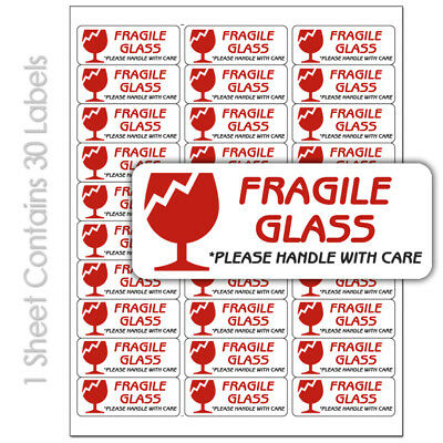 Fragile Glass  30 Per Sheet Custom Printed Shipping Labels Stickers