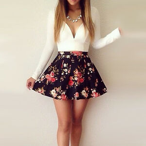 Women-039-s-Cute-White-V-Neck-Print-Above-Knee-Long-Sleeve-Pleated-Dress