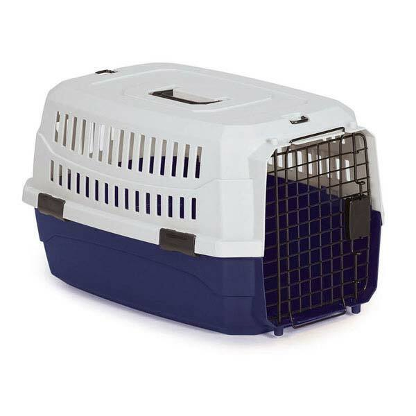 Pet Travel Crate Heavy Duty Plastic Blue Grey Secure Dog Cag