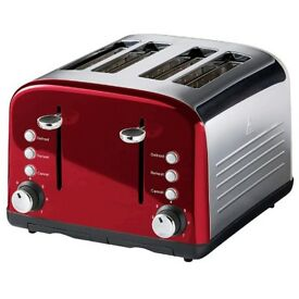 NEW GLOSSY 4 SLICE STAINLESS STEEL RED TOASTER FOR JUST £19.99